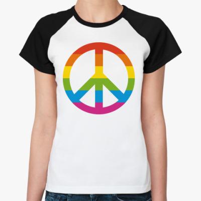 Женская футболка реглан  Радужный пацифик