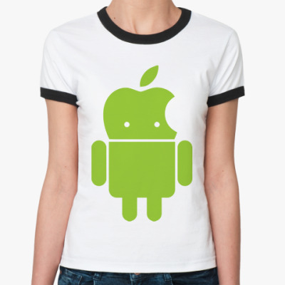 Женская футболка Ringer-T Андроид голова-яблоко