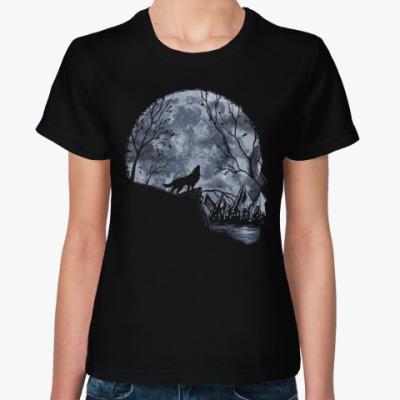 Женская футболка Лунный Череп