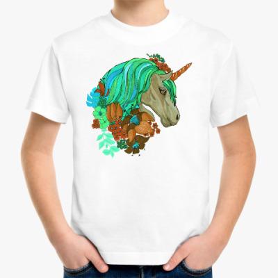 Детская футболка Единорог в цветах