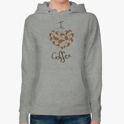 Женская толстовка худи I love coffe