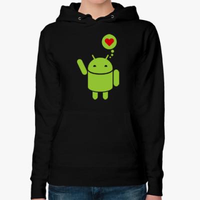 Женская толстовка худи Love Android
