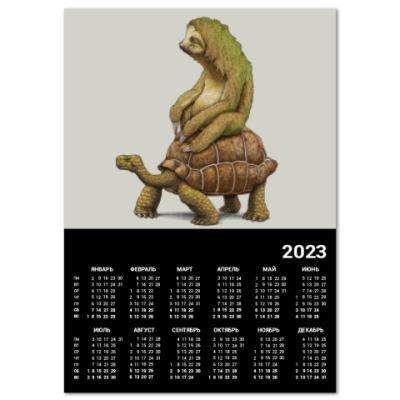 Календарь Ленивец на черепахе