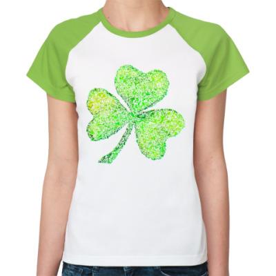 Женская футболка реглан Осколки стеклянного клевера