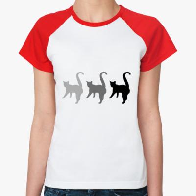 Женская футболка реглан Три кота