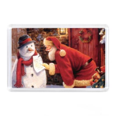 Магнит Снеговик и Санта