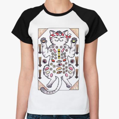 Женская футболка реглан Sushi & Cat  Ж()