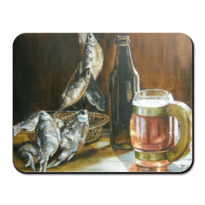 Коврик для мыши Пиво и рыба