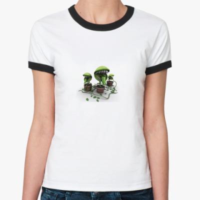 Женская футболка Ringer-T Плотоядные растения