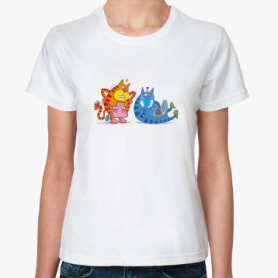 Классическая футболка 'Коты с ноутом'