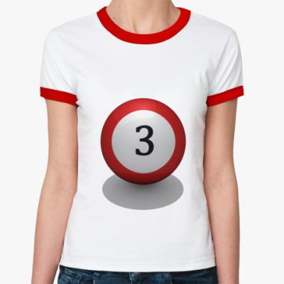 Женская футболка Ringer-T  бильярд