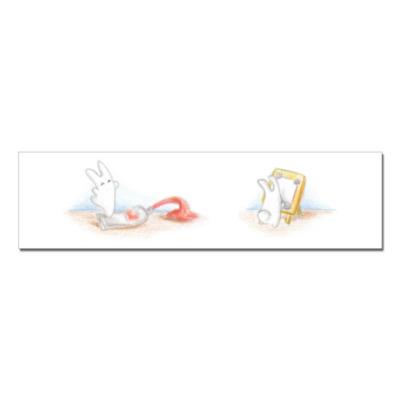 Наклейка (стикер) Зайчик рисует