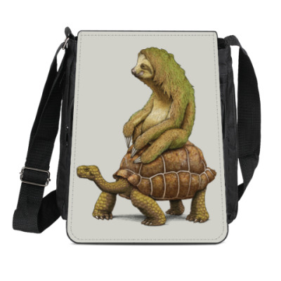 Сумка-планшет Ленивец на черепахе