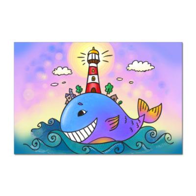Наклейка (стикер)   «Кит и маяк»