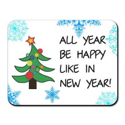 Коврик для мыши Новый Год, снежинки