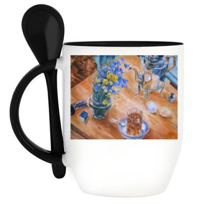 Кружка с ложкой Утренний чай