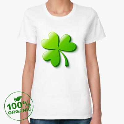 Женская футболка из органик-хлопка Зеленый объемный клевер