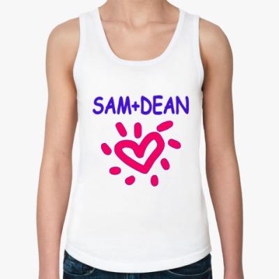Женская майка Supernatural - I love Dean+Sam