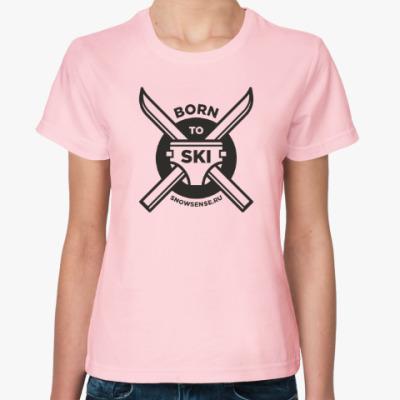 Женская футболка Женская футболка Born 2 Ski черный (разные цвета)
