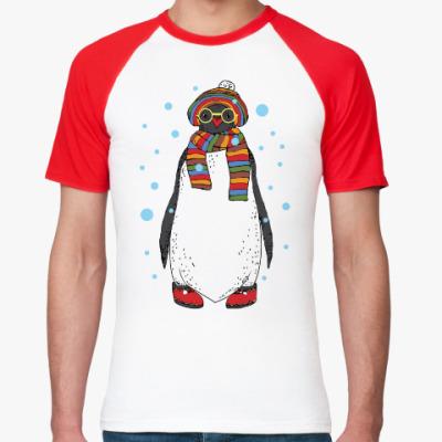 Футболка реглан Новогодний пингвин в шапке