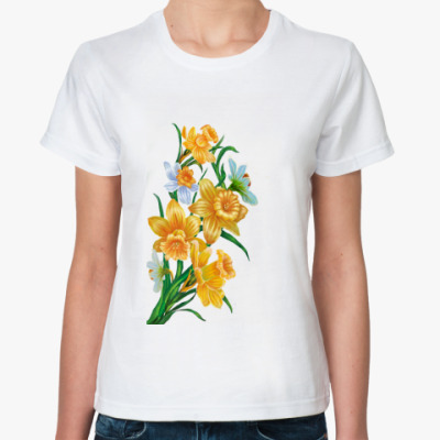Классическая футболка Букет с нарциссами