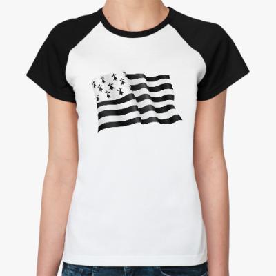 Женская футболка реглан Бретонский флаг