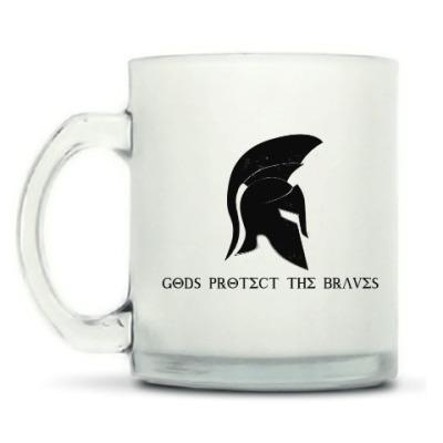 Кружка матовая Gods protect the braves,спарта