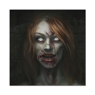 Наклейка (стикер) Зомби-девушка