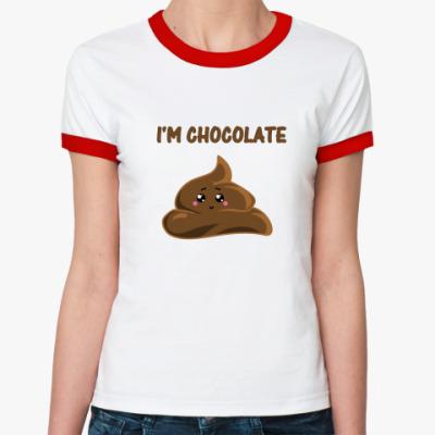 Женская футболка Ringer-T I'm chocolate  fancy cake!