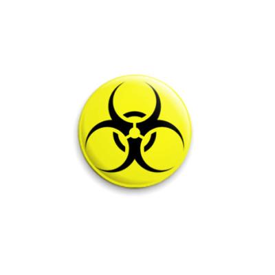 Значок 25мм Biohazard чёрно-жёлтый
