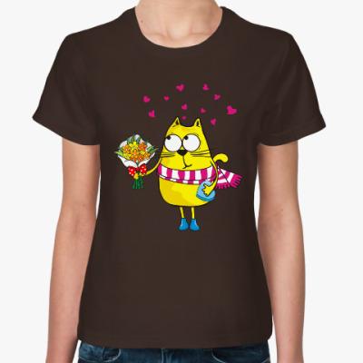Женская футболка Няшный котэ по имени Комо