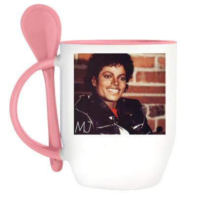 Кружка с ложкой Майкл Джексон