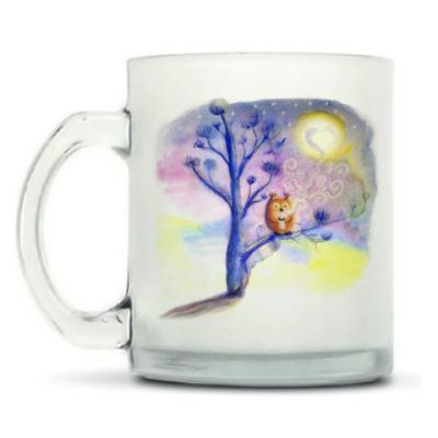 Кружка матовая Сова пьет кофе
