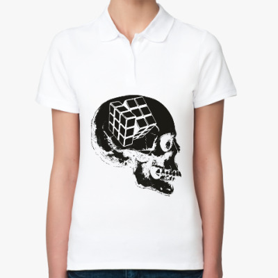 Женская рубашка поло Череп и Кубик Рубика