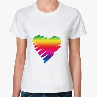 Классическая футболка Сердце Rainbow style
