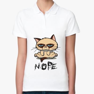 Женская рубашка поло Недовольный кот ( Grumpy cat )