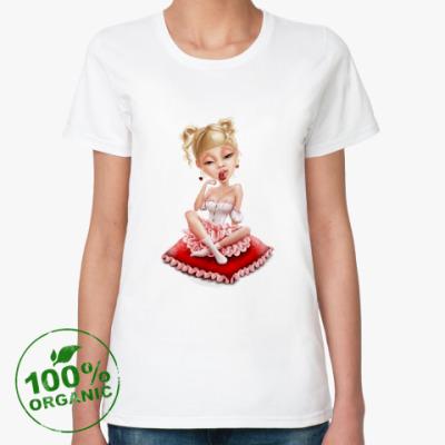 Женская футболка из органик-хлопка Сладкая блондиночка