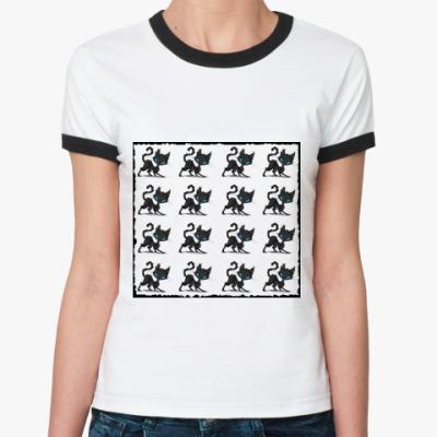 Женская футболка Ringer-T 16 котов