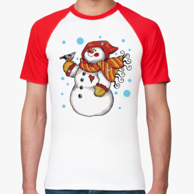 Футболка реглан Снеговик и снегирь