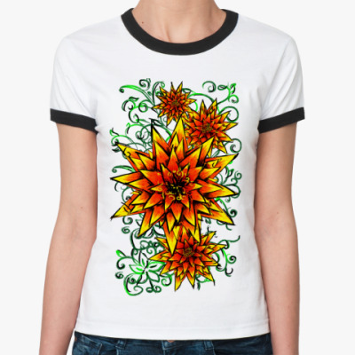 Женская футболка Ringer-T цветочки