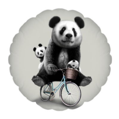 Подушка Панды на велосипеде