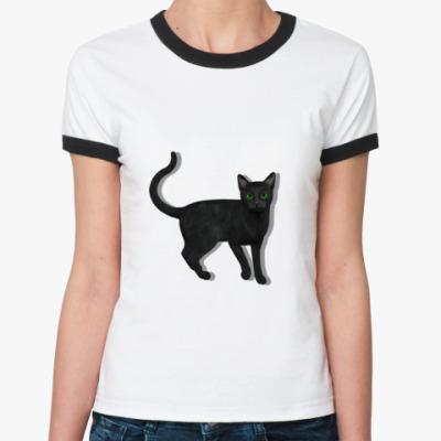 Женская футболка Ringer-T   Black cat