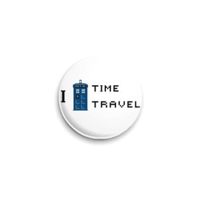 Значок 25мм I love Time Travel