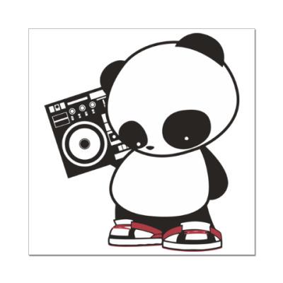 Наклейка (стикер) Панда с магнитофоном