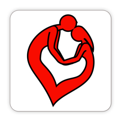 Костер (подставка под кружку) пара сердце