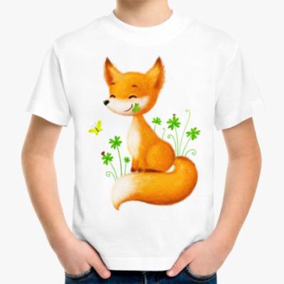 Детская футболка Лисенок в клеверах