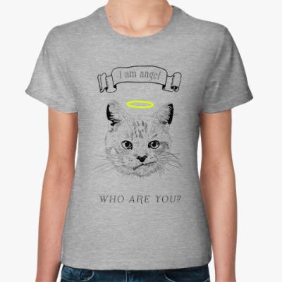 Женская футболка Кот ангел с нимбом над головой
