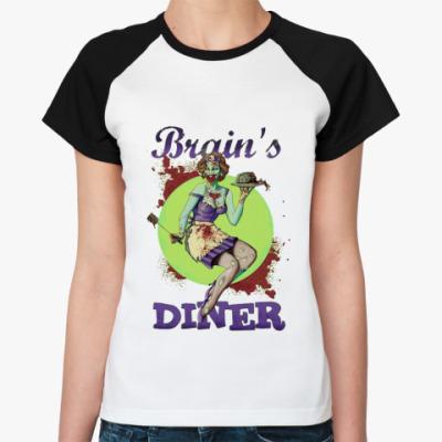 Женская футболка реглан Brain's Diner