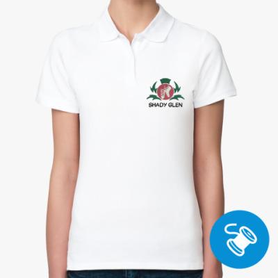 Женская рубашка поло Женская рубашка поло Fruit of the Loom, белая (вышивка)
