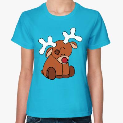 Женская футболка Новогодний олень Teddy